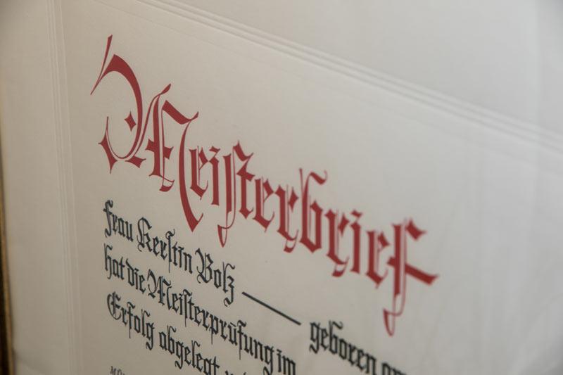 Meisterbrief Kerstin Bolz